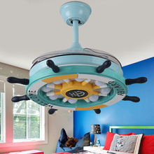 2019 36inch 42inch LED Cartoon creative rudder remote control invisible ceiling fan lamp childrens room with electric boy