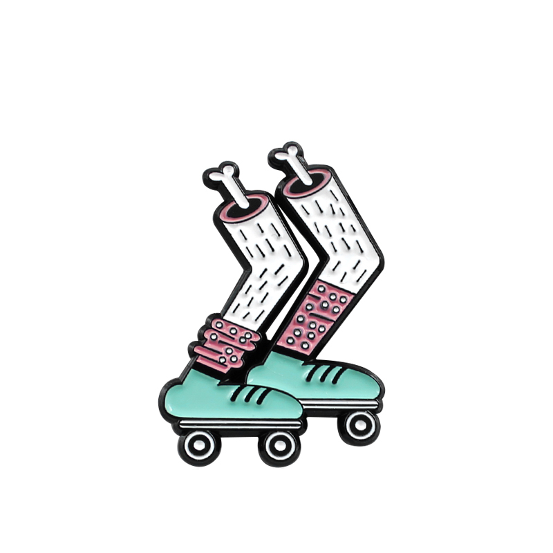 Green Roller Shoes Metal Enamel Brooch Cool Roller Skate Badge Pin Personality Unique Extreme Sports Love Care Jewelry Gift
