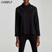 Women Sweet Beading Pearls Shirts Turn Down Collar Long Sleeve Black Blouse Female Casual Tops BGB7424