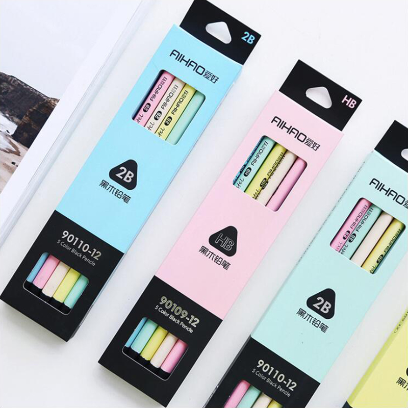 Pencil-Pens Office-Stationery Student-Supplies Wood Triangle Black Writing Cartoon Cute