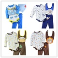 2015 Newest Baby Girls Clothing Sets Baby Bodysuit Bibs Pants Suits Newborn Romper PP Pant Cotton
