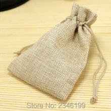 100pcs 10x14cm Natural Cotton Linen Bags Colorful Gift Bags