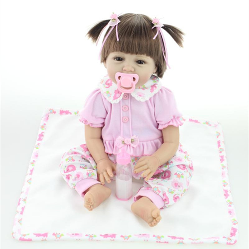 Handmade Little Newborn Baby Girl 22 Inches 55 cm Cute Reborn Baby Girl Dolls For Kids