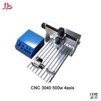 Fresadora CNC de la máquina 3040 de 500 w 4 eje router mini