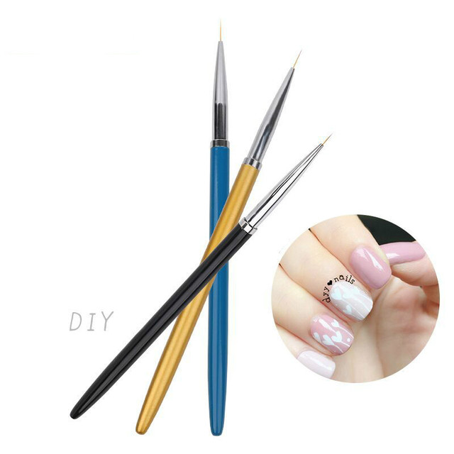 3pcs Set Nail Art Pencil Drawing Pen Dotting Tools Kit Metal Paint Painting Striping