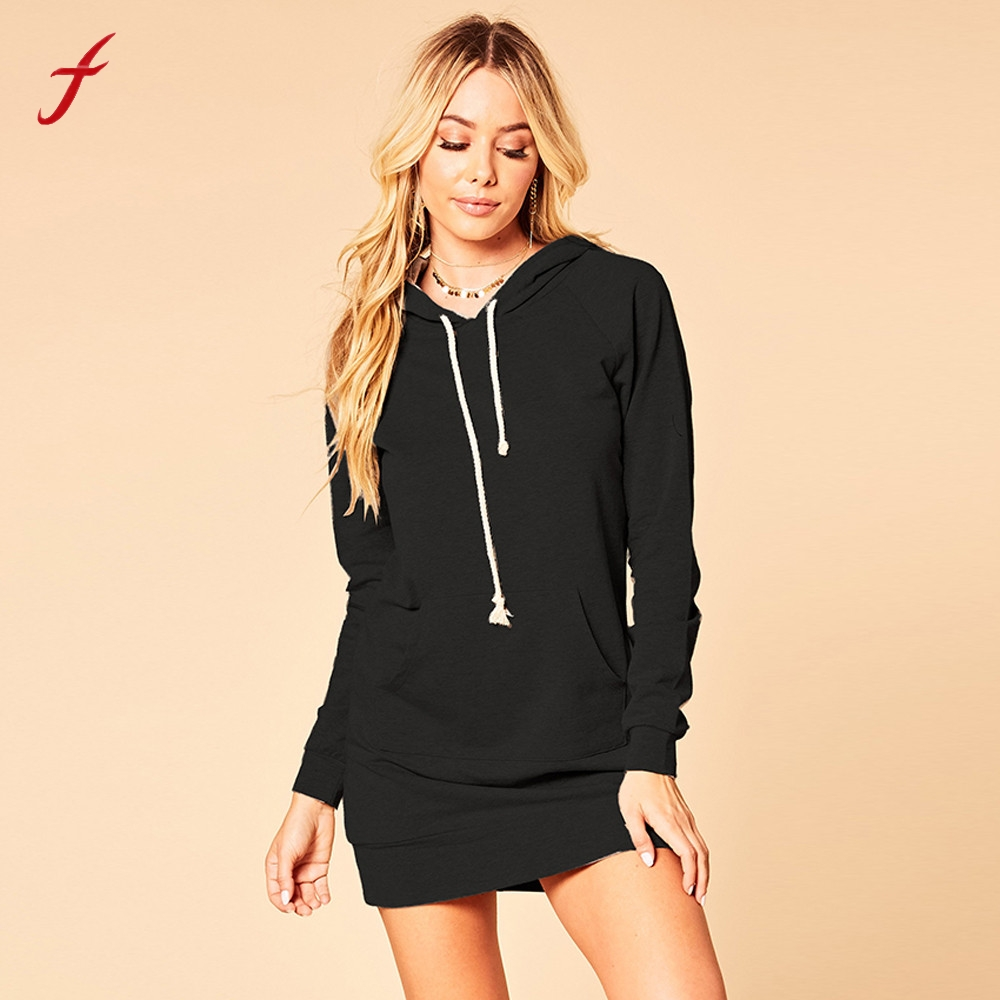 FEITONG Women Ladies Hooded Sweatshirt Dress Long Sleeve Cotton font b Sweater b font font b