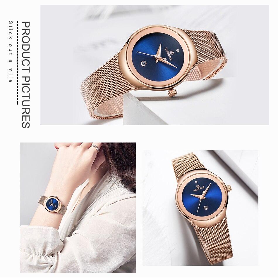 NAVIFORCE Relojes de mujer Top Marca de lujo Señora Moda Casual Correa de malla de acero simple Reloj de pulsera de regalo para niñas Relogio Feminino (6)