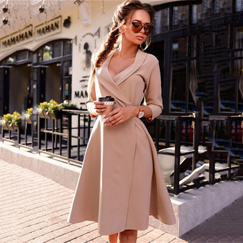 AiiaBestProducts Autumn Vintage V-neck Dress