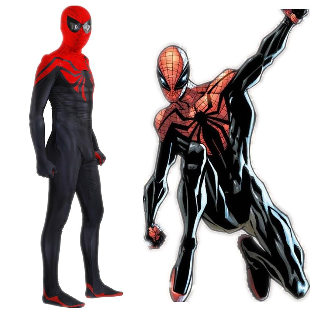 Adult Men Spiderman Superior Spider Man Cosplay Costume Zentai Superhero Pattern Bodysuit Suit Jumpsuits