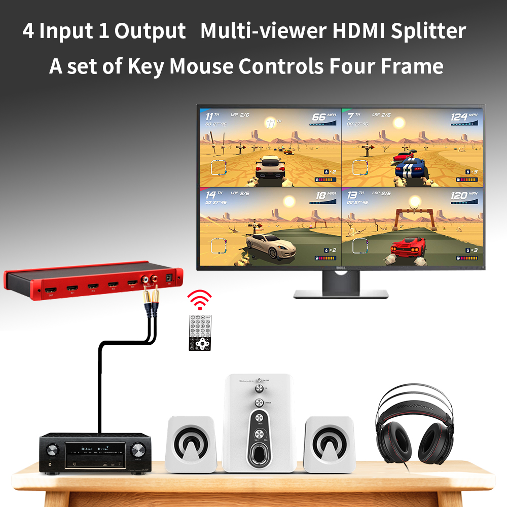 New HDMI Multi viewer for Multicam With Seamless Switcher 1080P HD 4X1 Quad Splitter HDMI цена