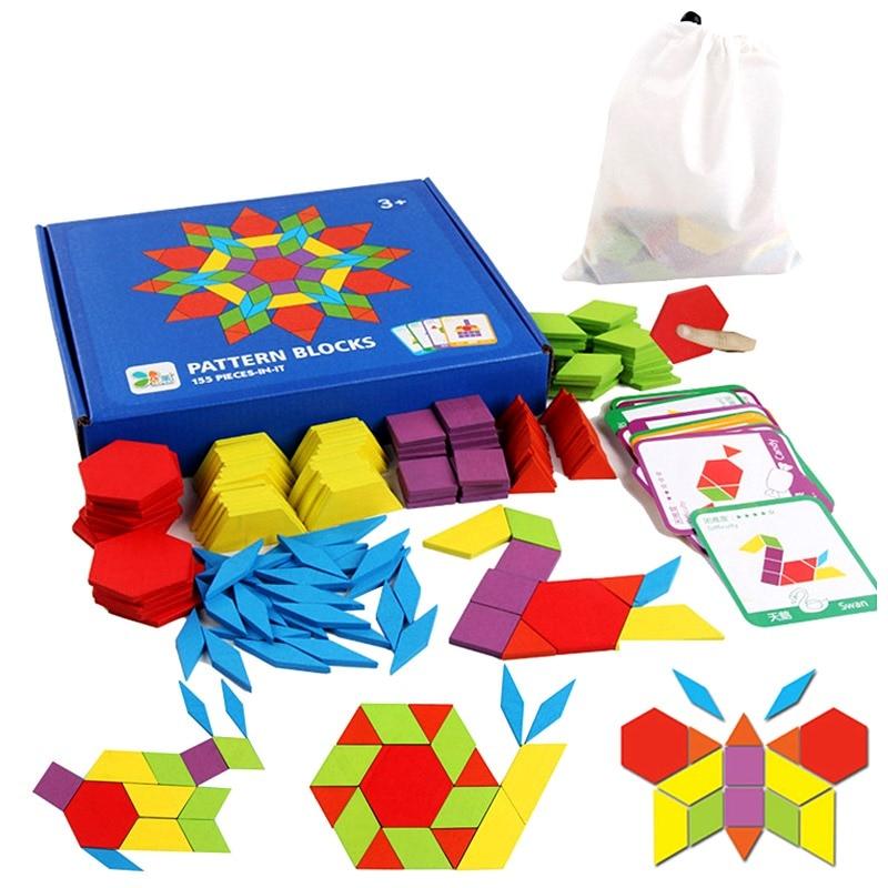 Kids Tangram Infantil Wooden Jigsaw Puzzle Educational Toys 155PCS Creative Montessori Board Set Intelligent Development Toys