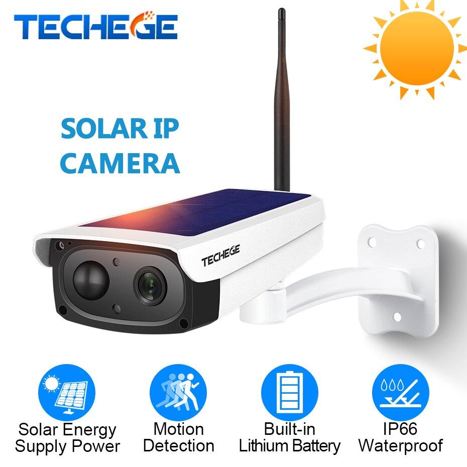 Techege 1080 P WiFi Caméra Interphone Étanche En Plein Air batterie solaire caméra cctv caméra sans fil TF emplacement pour cartes APP À Distance