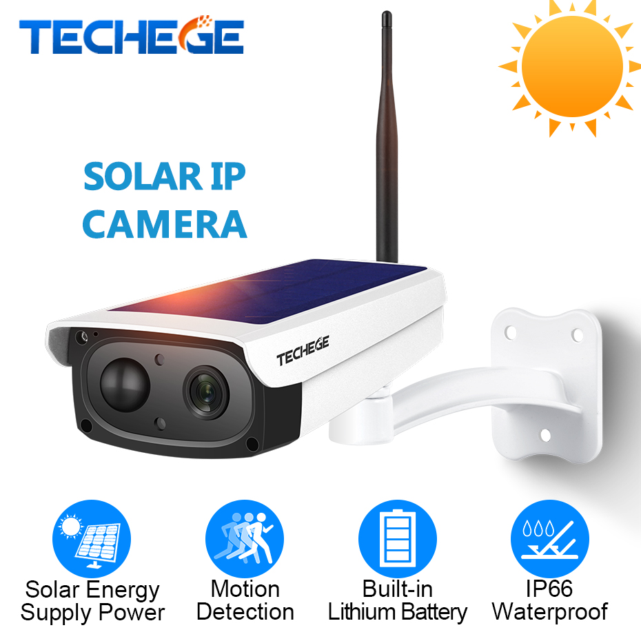 Techege 1080P WiFi Camera Intercom Waterproof Outdoor Solar Battery Charge CCTV Camera Wireless Camera TF Card Slot APP Remote