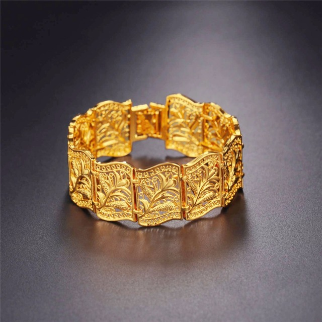 Gold Color Bracelet For Women Solid Hollow Flower Pattern Bracelet Wholesale Vintage Bangle Wrap Cuff Bracelets H5195
