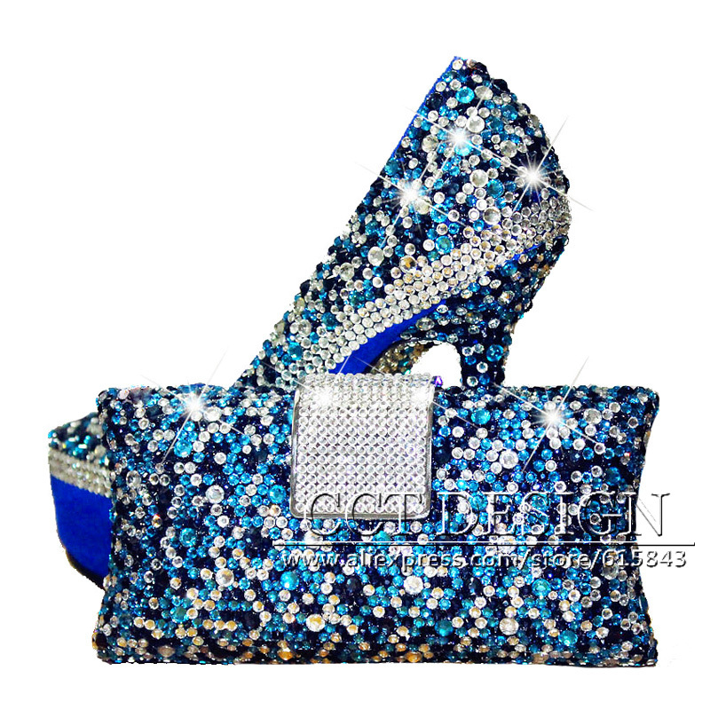 Something White Wedding Shoes Customized Sparkly Royal blue High Heels Platform Party Evening Shoes Italian Shoes And Bag Set something red wedding shoes customized sparkly diamond red high heels platfrom party evening shoes italian shoes and bag set