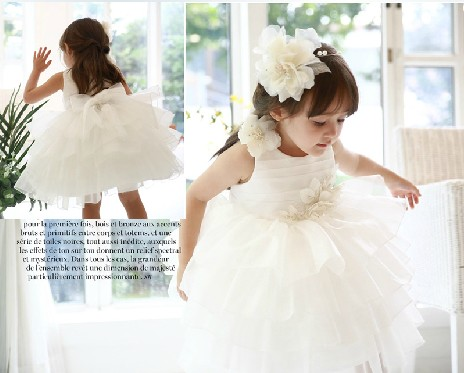Snow White ! 2014 new girl's princess wedding dress female Children's lace baby girl year party ball flower - Super-Mom store