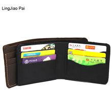 LingJiao Pai Travel Italian Style Crazy Horse Leather Wallet  Men Genuine Leather Wallets Coin Pocket Brown Male Purse