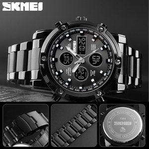 Image 5 - SKMEI Digital Quartz Watch Men Outdoor Sports Countdown Waterproof Stainless Steel Strap Wristwatch Men Clock Relogio Masculino