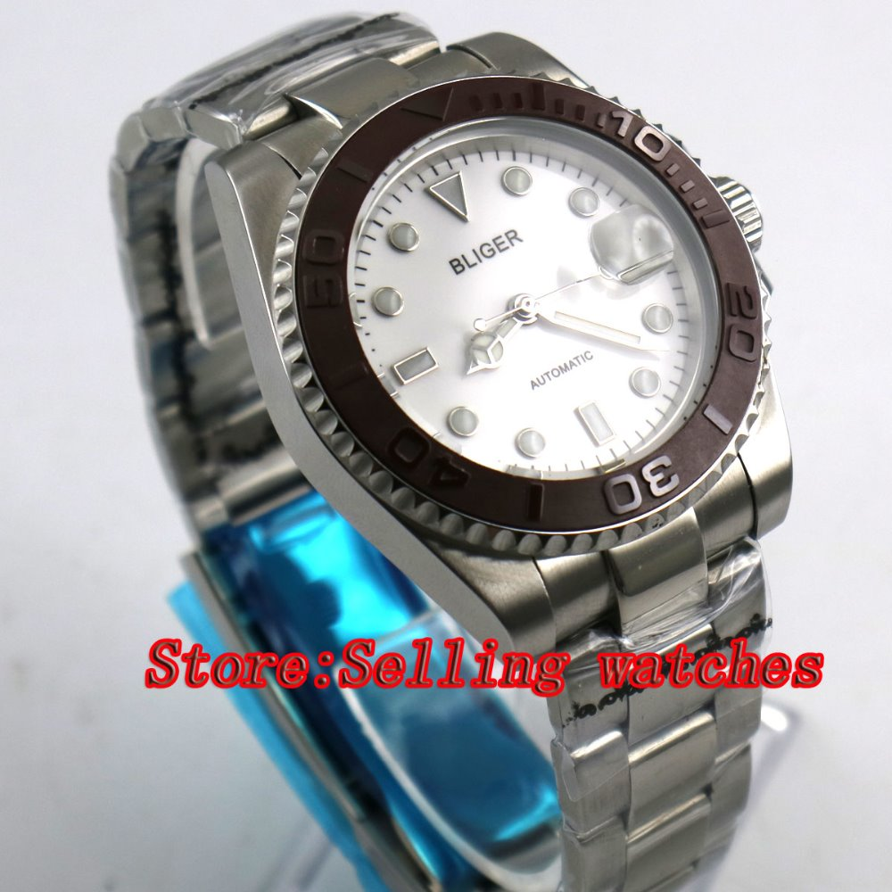 40mm Bliger white Dial coffee ceramic bezel Sapphire Glass Date Window Automatic Movement Men's Mechanical Wristwatches 44mm bliger gray dial blue ceramic bezel sapphire crystal automatic movement men s mechanical wristwatches