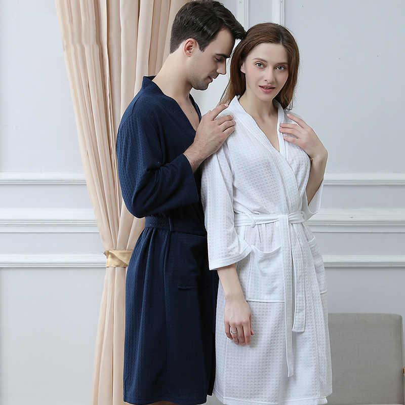 8b5c033f8e ... Men Plus Size Knee-Length Suck Sweat Towel Bath Robe Lovers Summer Sexy  Waffle Kimono ...