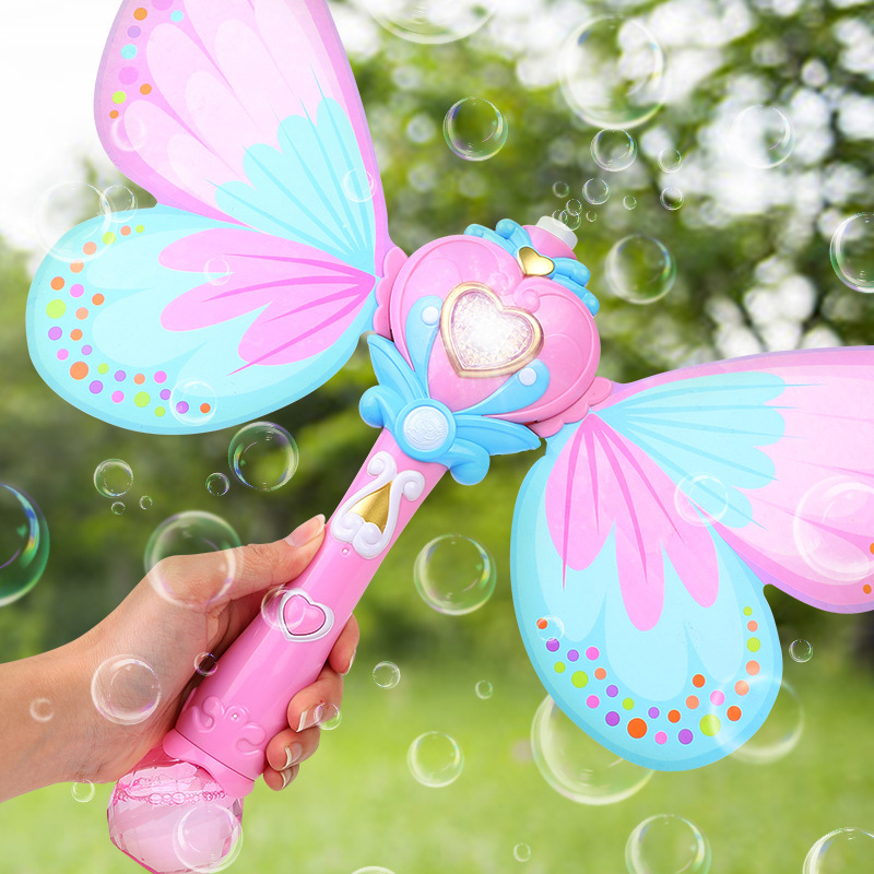 Electric Magic Wing Wand Automatic Soap Bubble Blowing Gun Blower Machine Light Music Funny Outdoor Girls Toys For Kids Gifts