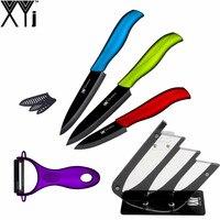 XYJ Marca Hermoso Regalo Herramientas de Cocina Cuchillo Negro Holder + Cuchillo pelador + 3 Unidades de Cocina Multicolor de Cerámica de Calidad Superior cuchillos