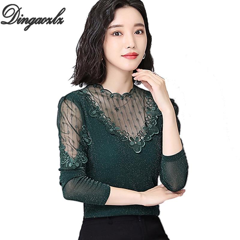 Dingaozlz Autumn Mesh Lace Tops Patchwork Women blouse Plus size Long sleeve Female Basic shirt Casual clothing