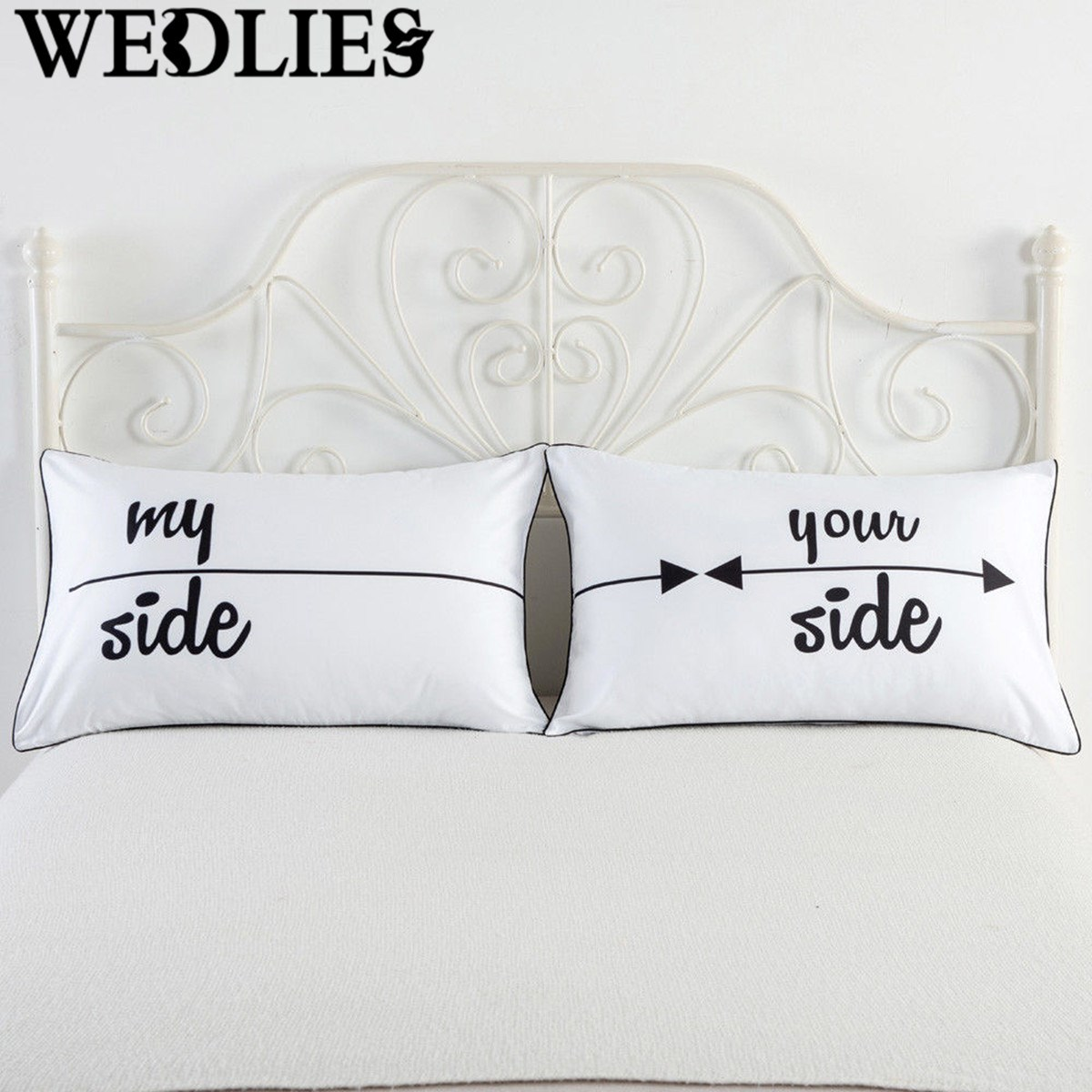 online get cheap couples pillow aliexpresscom  alibaba group - polyester letters printed pillow cases pcs couples cushion pillow casesbedding cover rectangle home textiles(