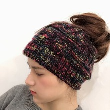 1 Piece 5 Colors Messy High Bun Ponytail Stretchy Knitted Hats Caps Women Colored Winter Warm Beanies With Hole