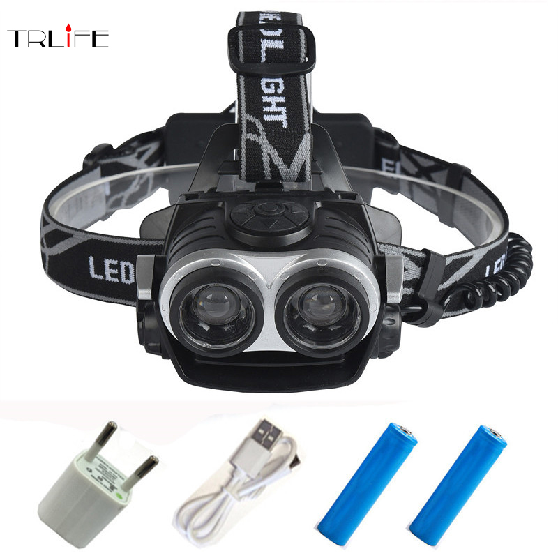25000Lumnes LED Headlight 2*CREE XML T6 Zoom Headlamp torch Head Lamp USB Rechargeable Lantern Light For 18650 Battery