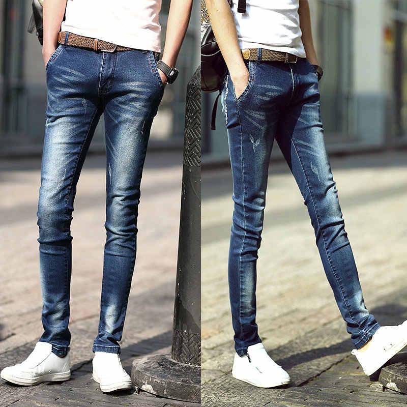 Модные для мужчин стрейч тонкий потертые джинсы из денима повседневное обтягивающие джинсы на молнии Fly полной длины узкие брюки
