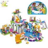 768pcs Friends City Swimming Pool Water Park Building Blocks Legoing Toys Girls Friend House DIY Bricks Toys Friend