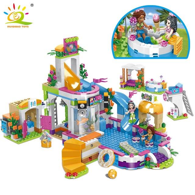 HUIQIBAO 675 pièces amis ville piscine parc aquatique blocs de construction jouets filles ami maison briques à monter soi même jouets ami