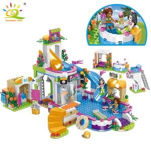 Image 1 - HUIQIBAO 675 шт друзья город плавательный бассейн аквапарк строительные блоки игрушки девушки друг Дом DIY Кирпичи игрушки друг