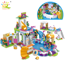 HUIQIBAO 675pcs Friends City Swimming Pool Water Park Building Blocks Toys Girls Friend House DIY Bricks Toys Friend