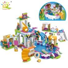 Huiqibao 675 pçs amigos cidade piscina água parque blocos de construção brinquedos meninas amigo casa diy tijolos amigo