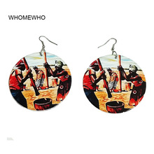 WHOMEWHo 60cm Africa Nature Wood Black Working Native Women Ear Earrings Vintage Party African Afro Jewelry Wooden DIY Club Gift