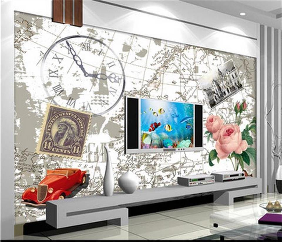 hand painted murals promotion shop for promotional hand painted custom 3d photo wallpaper mural living room retro hand painted rose flower 3d painting sofa tv background wall non woven sticker