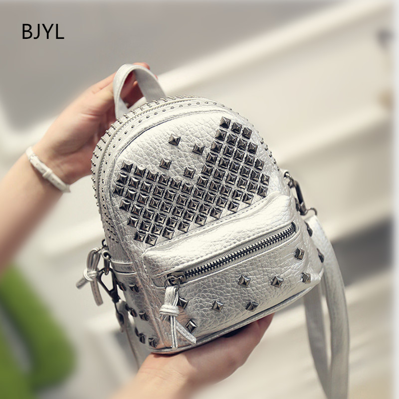 Fashion PU Backpack Women Travel Satchel Shoulder Bag Rivet Backpack School Bag for Teenagers