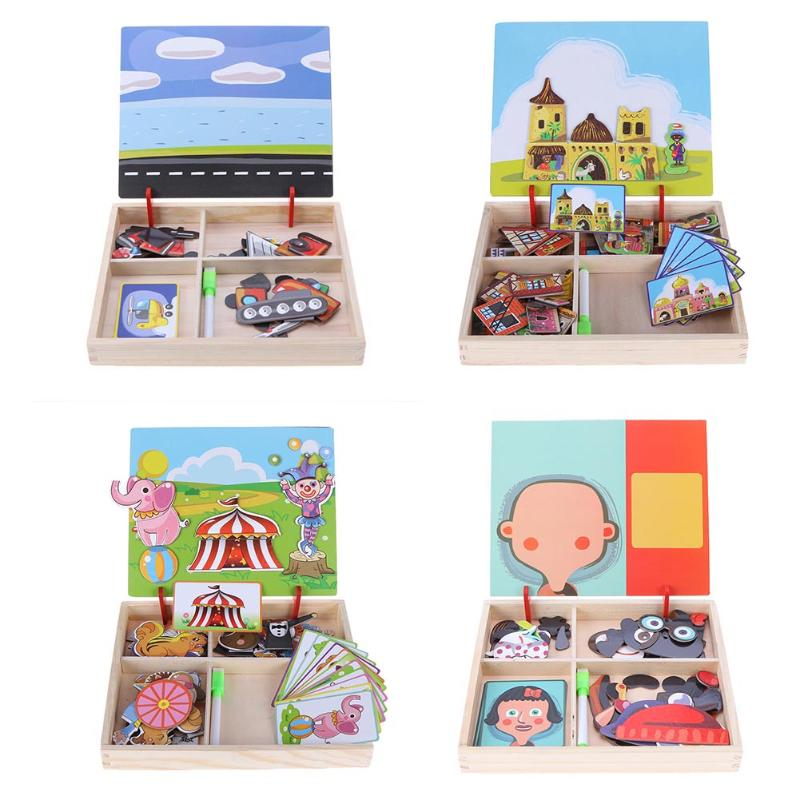 Wooden Puzzles For Children Animal Park Vehicle Multifunctional Magnetic Puzzle Kids Educational Drawing Board Toy Birthday