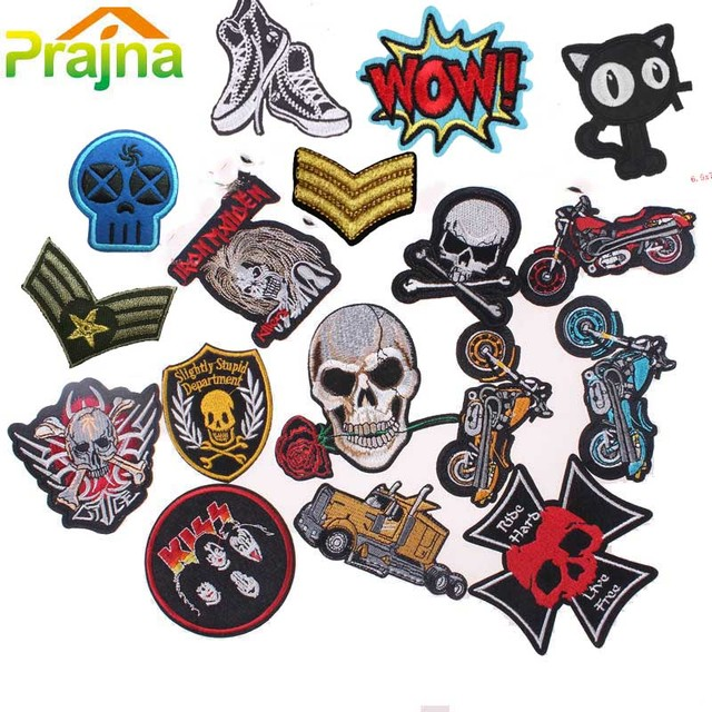 Punk rock patch military stalker skull patch biker iron on embroidered motorcycle band patches for clothes
