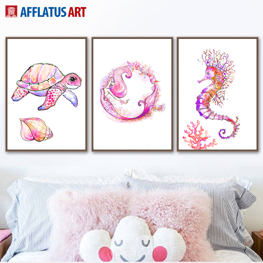 Watercolor Tortoise Mermaid Seahorse Coral Wall Art Canvas Painting Nordic Posters And Prints Pictures Kids Room Decor