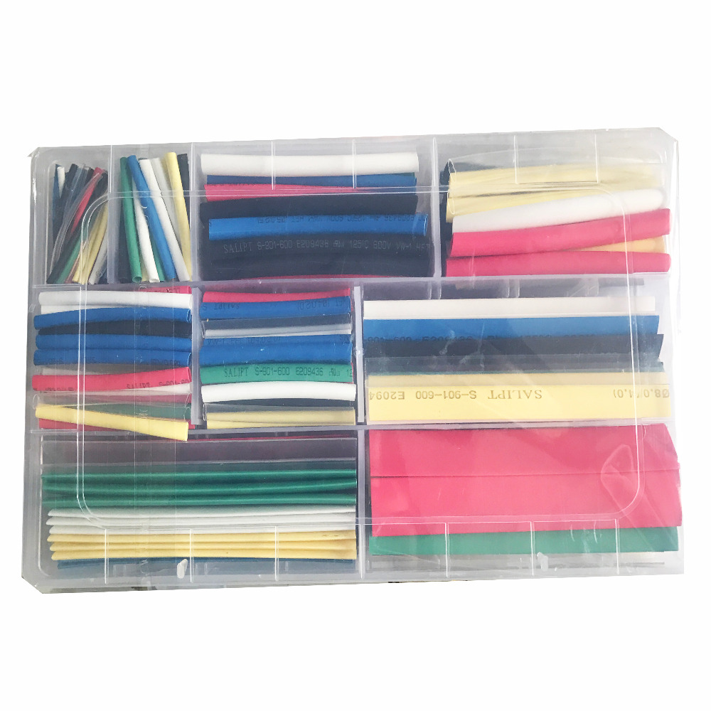 Heat shrinking tube Multi-color Multiple specifications Household portable heat shrink tube kit with box  yellow multi wear tube top