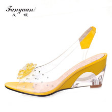 купить Fanyuan Women Heeled Sandals PVC Jelly Sandals Transparent Heel Ladies Summer Shoes Woman Peep Toe High Heels Wedges Sandals по цене 1147.67 рублей