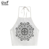 Dotfashion Womans Top with Strap Top 2017 Fitness Summer White Vintage Circle Print Halter Neck Cami Top Sexy Camisole