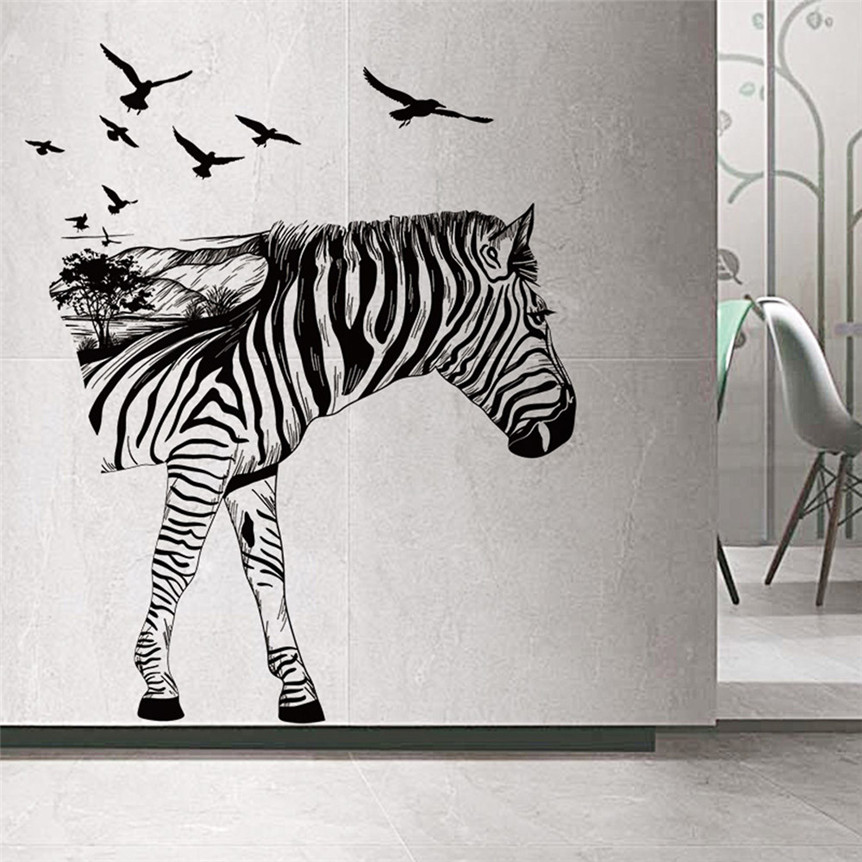 Wall Sticker AOOYOU Lovely Pets Hot Selling Zebra Silhouettes Decoration Stickers  Bedroom Living Room Walls Home Part 93