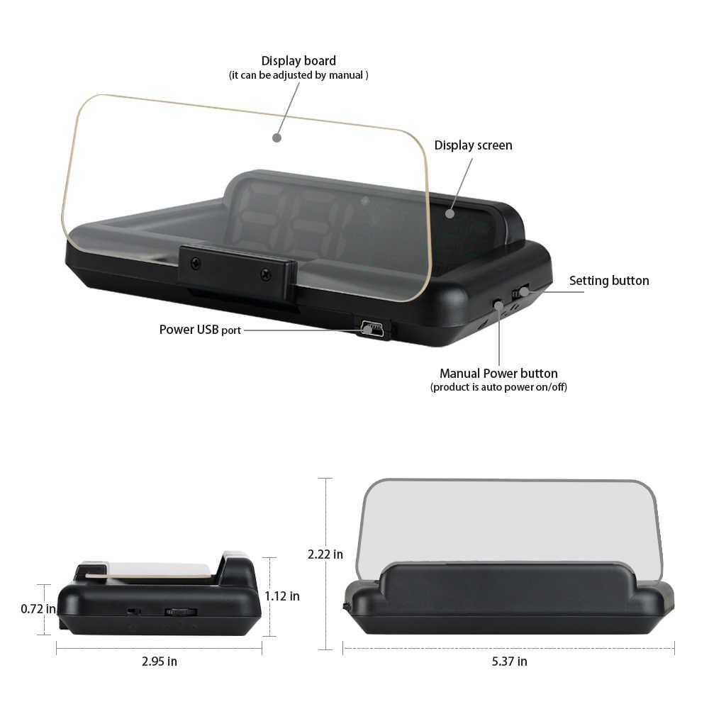 OBD HUD ミラー C500 車のヘッドアップディスプレイデジタルスピードメータープロジェクターセキュリティ警報水温 RPM 速度超過ボルト PK GPS t900