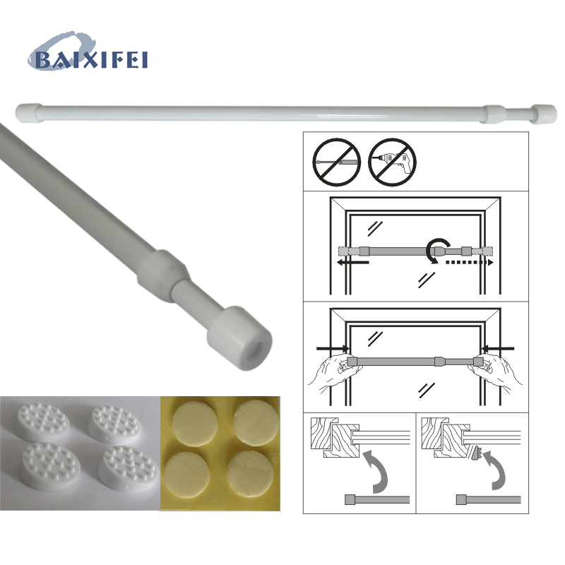 4 Pcs D6.5/8mm Adjustable Spring Loaded Bathroom Shower Curtain Rod Tension Extendable Telescopic Poles Rail Hanger