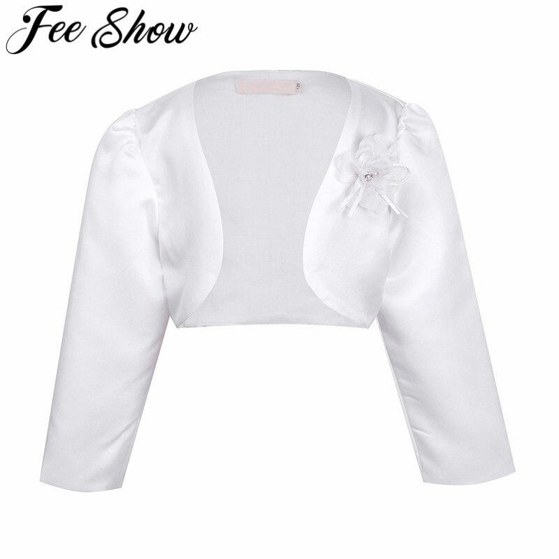 Kids Girls Long Sleeves Bolero Jacket Shrug Short Cardigan Sweater Dress Cover Up For 1-9 Years Old Girls Long Sleeve Kids Child