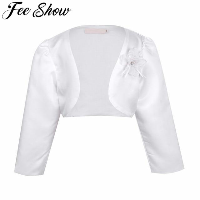52f93b17fb1b Kids Girls Long Sleeves Bolero Jacket Shrug Short Cardigan Sweater ...